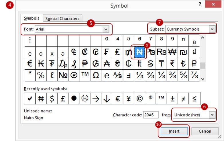 How to program the Naira currency symbol (₦) in Excel